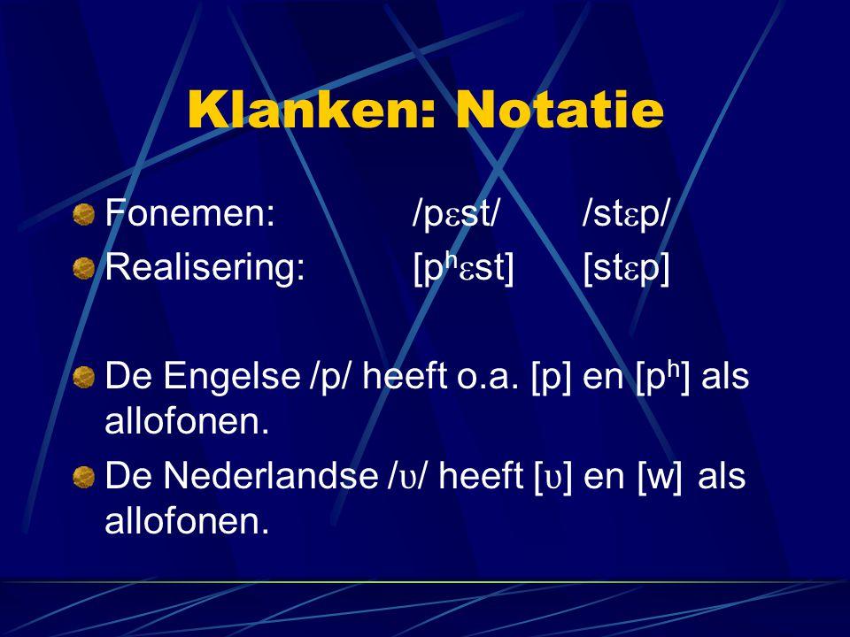 Klanken: Notatie Fonemen: /pst/ /stp/ Realisering: [phst] [stp]